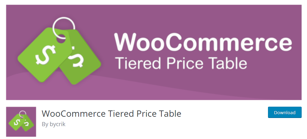 Tiered price table