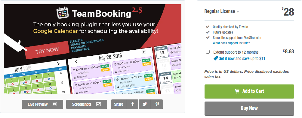 WordPress Team Booking