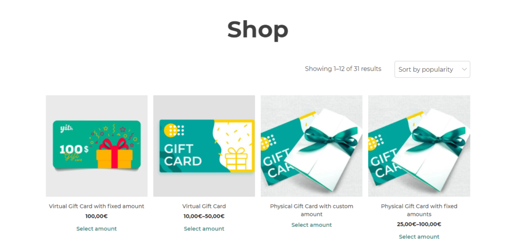 WooCommerce Yith Gifts Cards