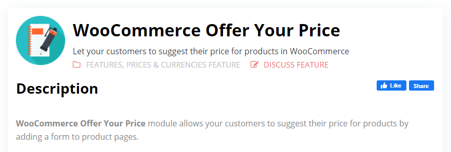 WooCommerce Offer Your Price by Booster