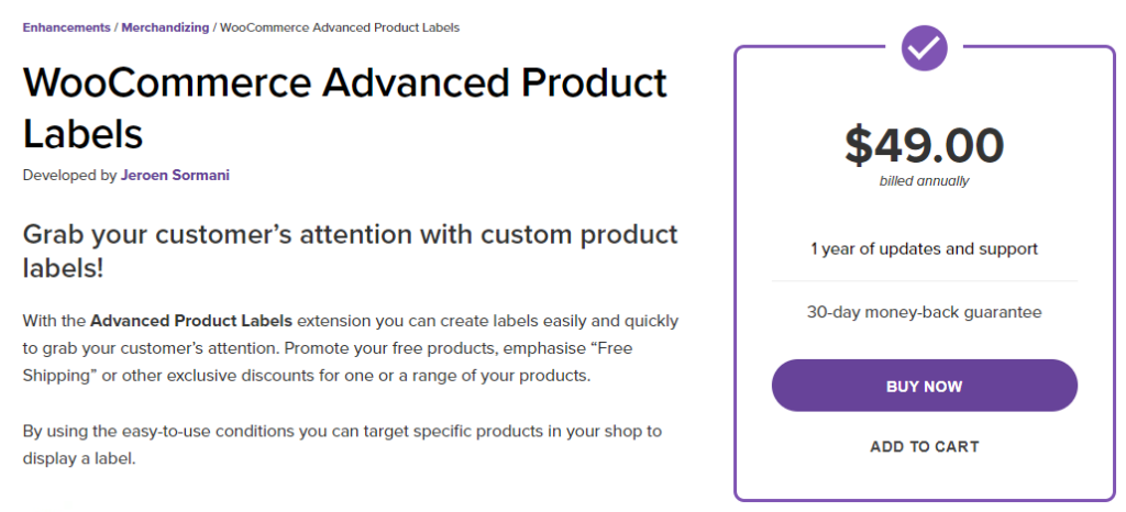 WooCommerce Advanced Product Labels for Marketing