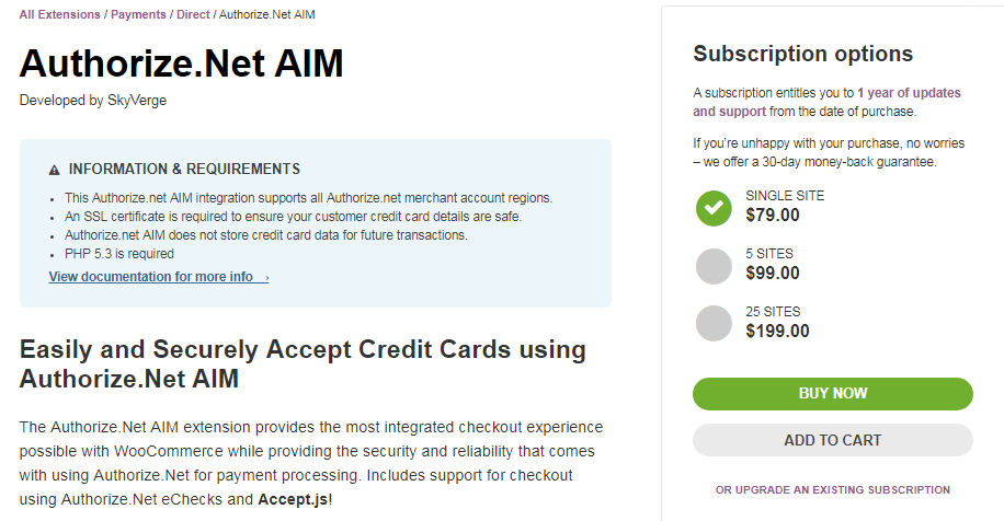 WooCommerce Authorize.net AIM Payments