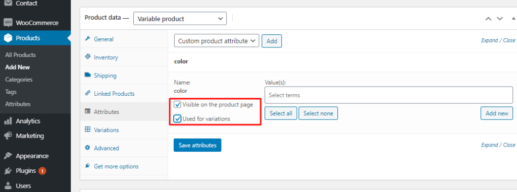 Add attributes to variable products