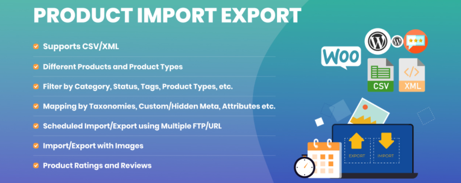 Product import and export for WooCommerce